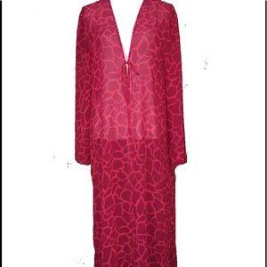 NWOT Victoria's Secret Long Robe Sz L/XL sheer red